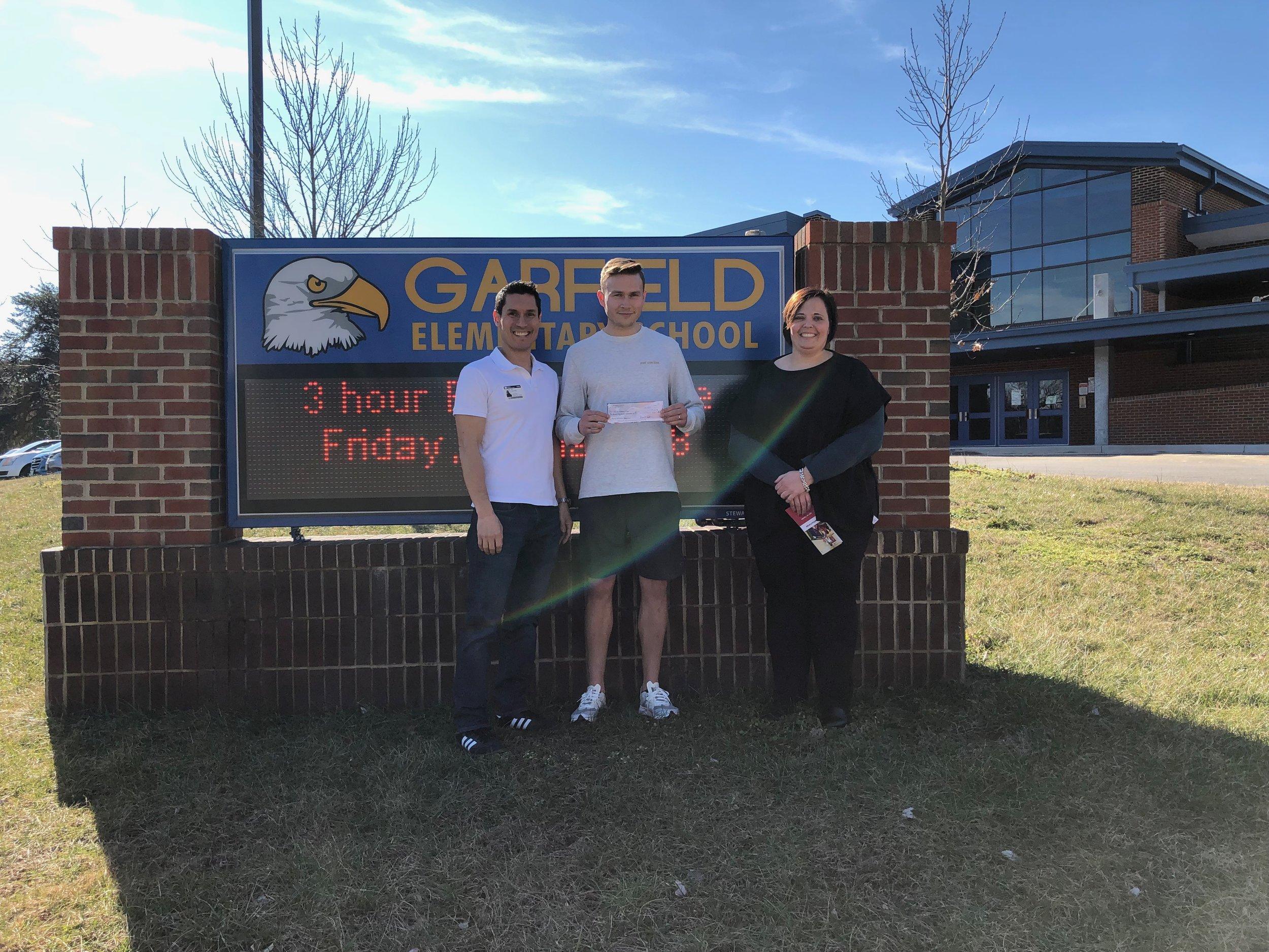 (Left to Right) Ken Savittiere (K12AF & FCFRD), Mr. Geck (PE), Ms. Slattery (Principal)