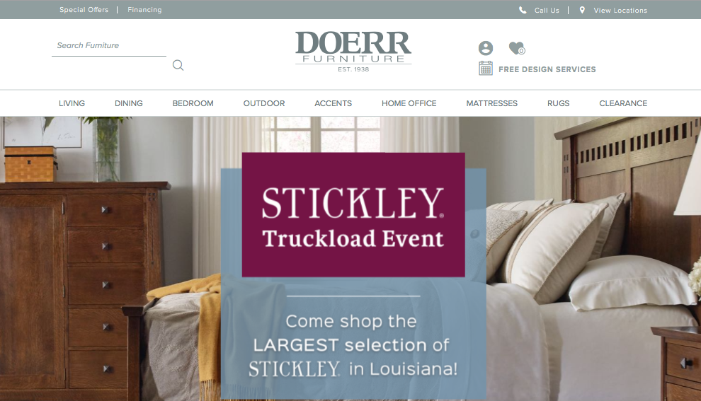 """DOERR FURNITURE     Corbec Media, LLC, wrote all the content for the website, including employee and owner biographies and an ongoing blog, """"The Flavor of Your Neighborhood"""" where we tied in historic facts about a community along with a decorating trend.  Read More"""