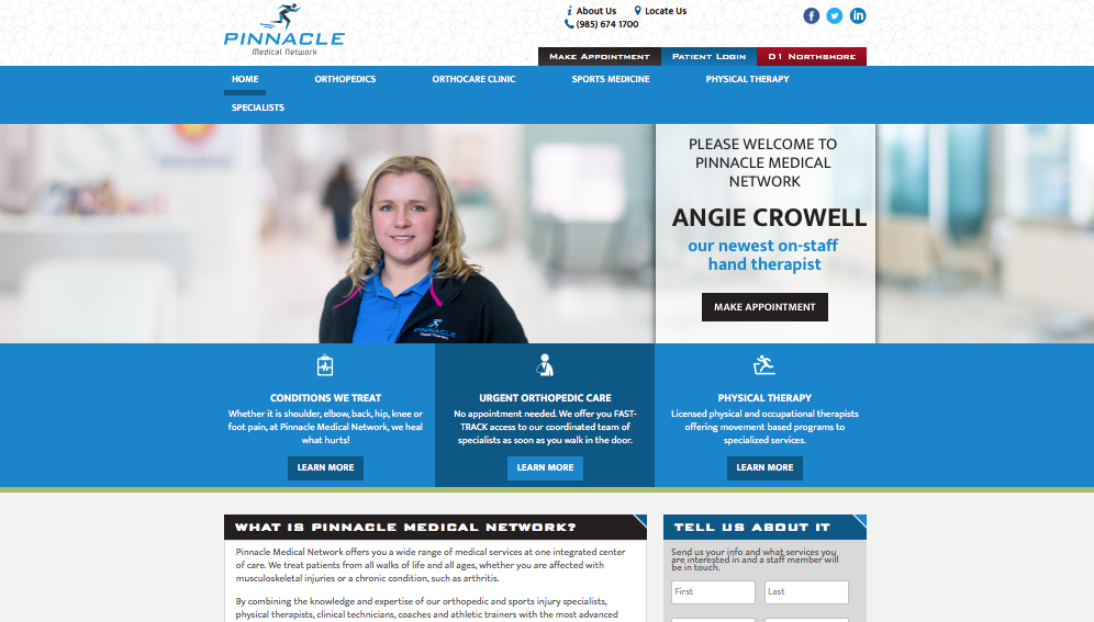 """PINNACLE MEDICAL NETWORK   Corbec Media, LLC, wrote all the content for the website, including the extensive drop down lists for Orthopedics, Sports Medicine, Physical Therapy, Hand Center. We researched the medical conditions"""" and wrote content that was understandable and SEO friendly. Read More"""