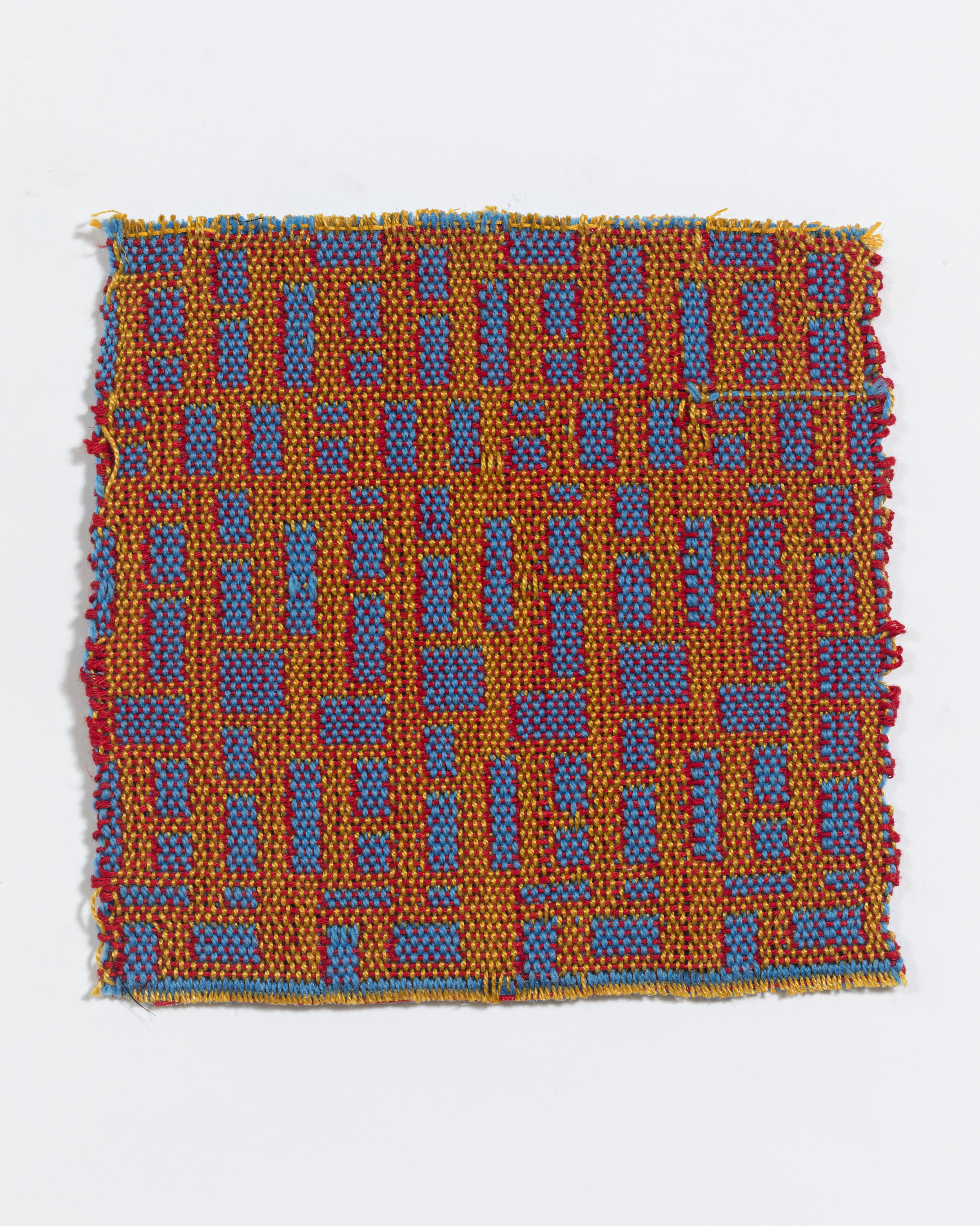 """woven on 24-harness dobby loom, approximately 6 x 8"""", found yarns"""
