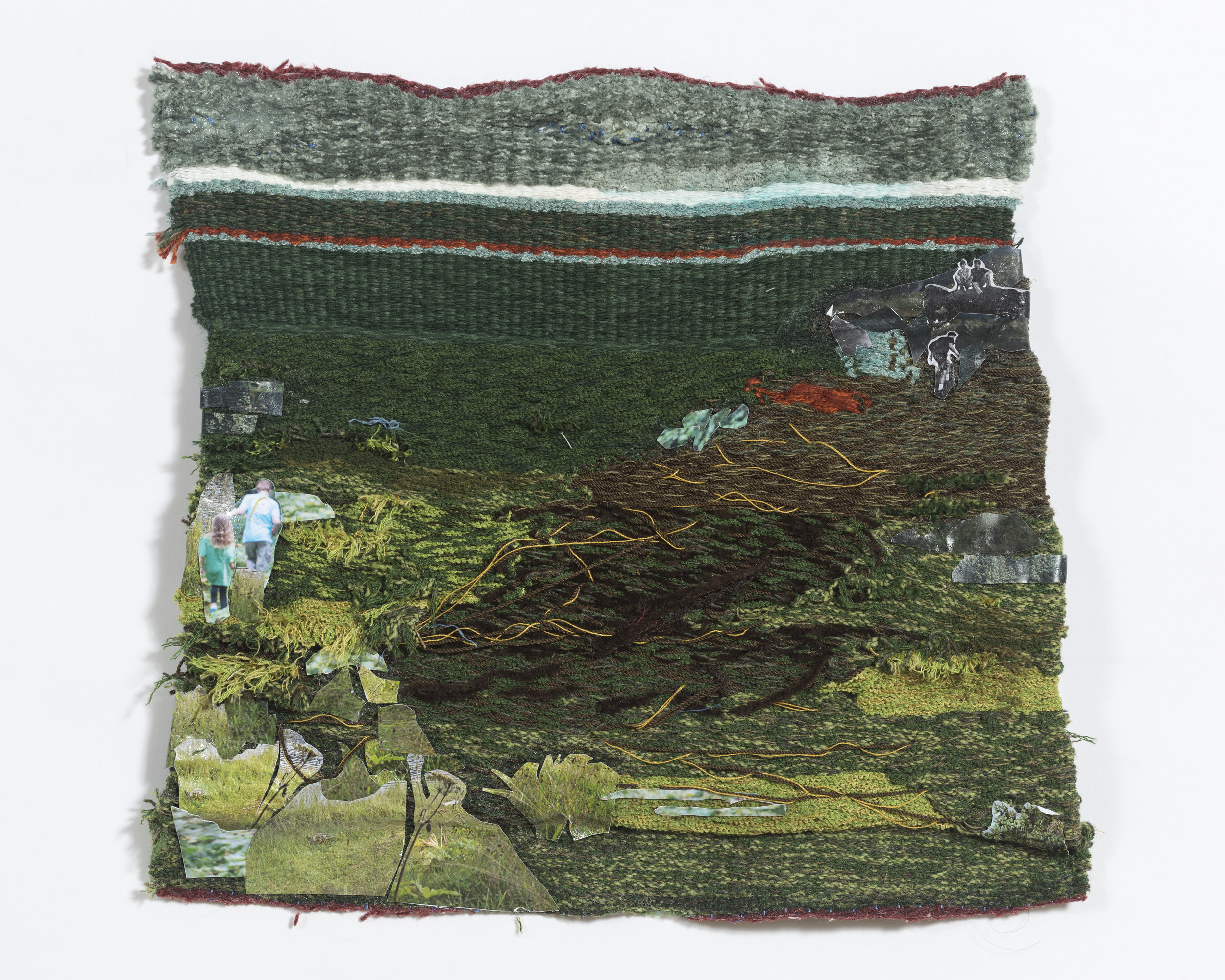 """woven on 8-harness floor loom, 10 x 12"""", found yarns and collaged inkjet printed photographs"""
