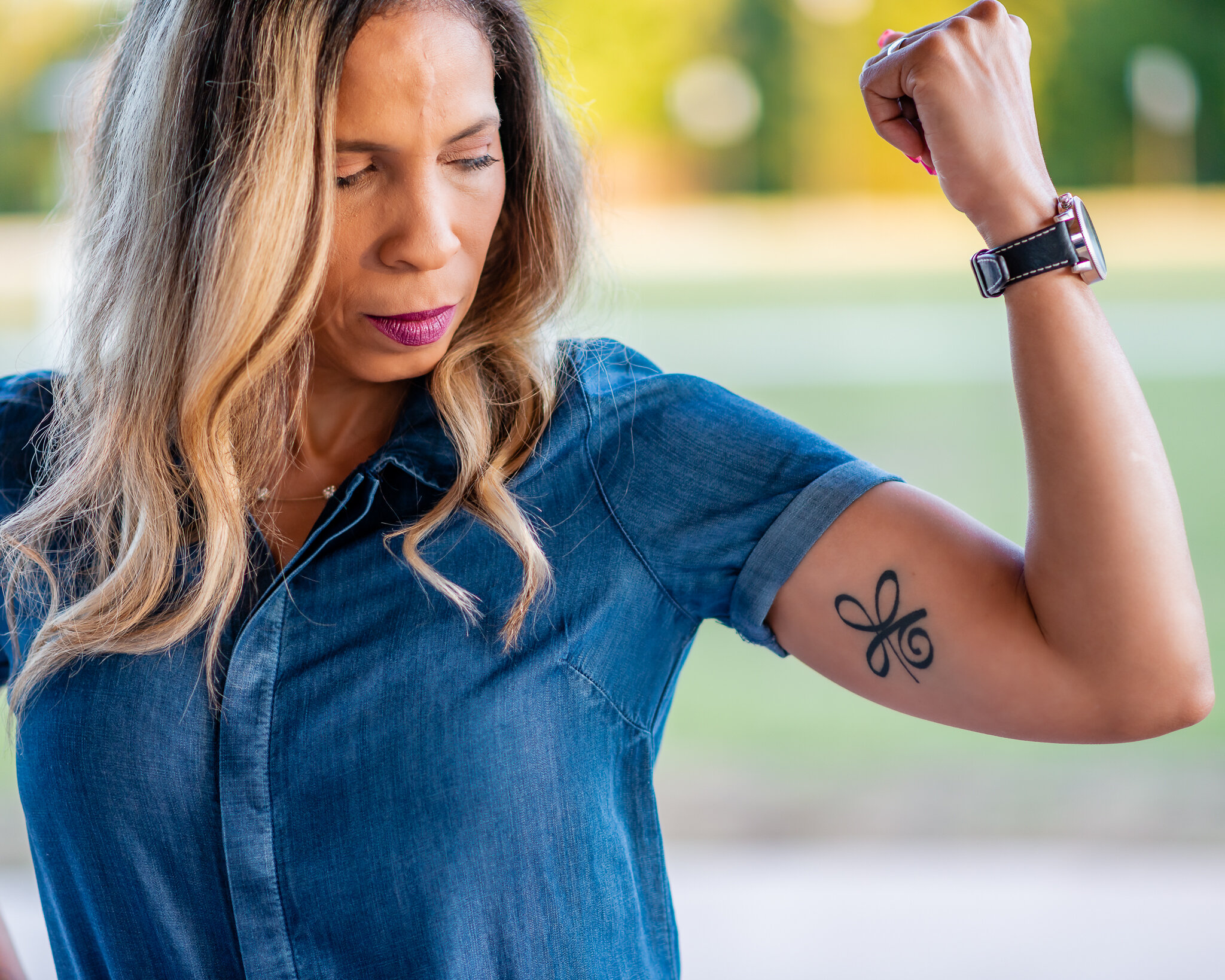 """I had the strength to not allow Breast Cancer to take over my life & a constant reminder that I am stronger mentally""The meaning behind Irene's Celtic Symbol for Strength tattoo -"