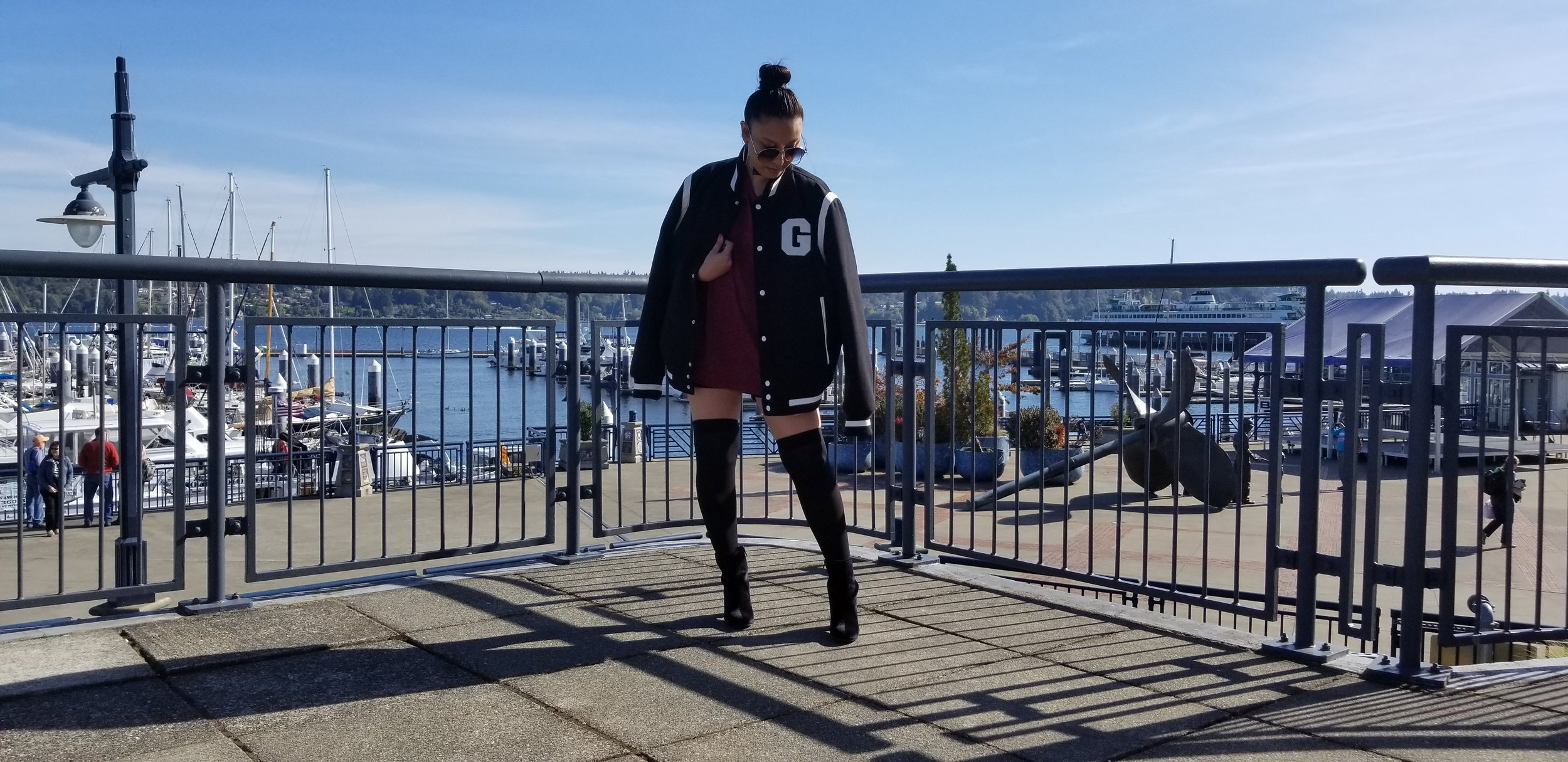 his jacket - With the weather getting chilly, I threw on my man's Guess jacket. I am all about the bomber varsity feel. This over-sized jacket not only keeps me warm but it's stylish too!