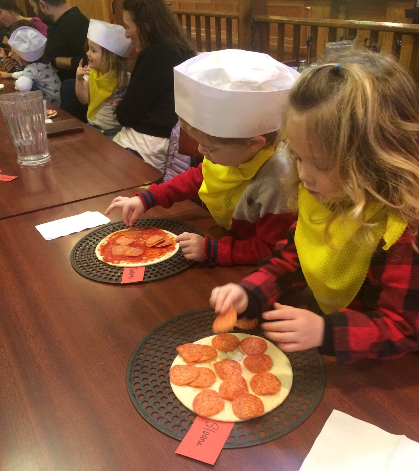 Pizza Field Trip - One of our fondest Sleepy Hollow Preschool traditions is our annual pizza field trip.  In February, our Threes and Fours classes venture to a local pizza restaurant, where they are able to make their very own pizza, and watch it being baked!  Students then get to enjoy their pizza with teachers, parents and friends!