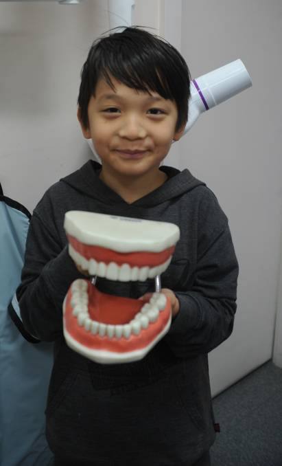 """HEALTHY TEETH: Wagga's Wangram Redamwang visiting the dentist for a check up. Picture: Daina Oliver   In a world heavily influenced by advertising, Mrs Lang said the rating system was very important to make healthy decision for children. """"It tends to be bright colours with people they respect like sportspeople choosing particular types of cereal,"""" she said.    """"Nutrition Grain has four teaspoons of added sugars in one bowl, compare that to    Weetbix, which has none. There can be healthy options, but it is a matter of being aware. """"We see fit people having them and that influences parent's decisions, so our Health Star Rating system really need to reflect healthy choices.""""    Mrs Lang said oral health is an area of neglect for families, encouraging parents to start a regular dentist visit that will become a pattern for children to continue into adulthood.    """"Some parents feel like they are only baby teeth and they are going to fall out anyway so they don't have to worry. But some of those baby teeth can be there until they are an older teenager,"""" she said.    """"They keep the space for the adult teeth and they're really important for the smile factor - healthy teeth means a child can feel more confident about their smile.""""    Mrs Lang also suggested parents look at the types of sugary drinks being offered to their child that could lead to """"rampant"""" tooth decay. She said adults are starting unhealthy habits for the younger generation by giving them sugary drinks such as soft drinks, cordials and juice.    """"If water is the only thing offered to a child from a young age then that's the norm for them,"""" she said. """"Don't be tempted to sweeten it for them because the child's taste buds are more in tune than ours, so water does taste good.    """"Let the child enjoy water as it is and avoid other sugary things when they are older.""""    But at the end of the day, Mrs Lang said healthy teeth comes down to good eating habits, brushing teeth daily and regular visits to the dentist."""
