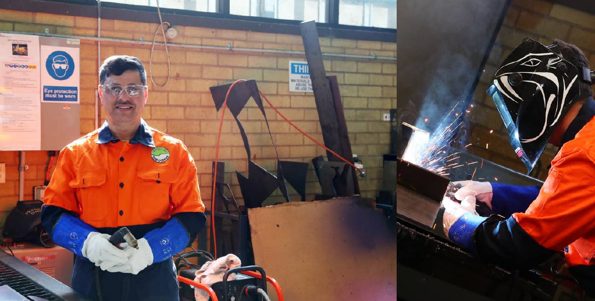 HARD AT WORK: Oday Rashed says he loves being able to weld and having a job gives him a sense of purpose. Pictures: Emma Hillier