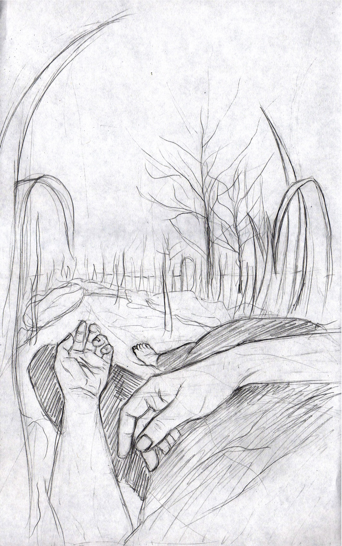 Rough sketch of interior art, by Alma Elaine Shoaf for  What You Call