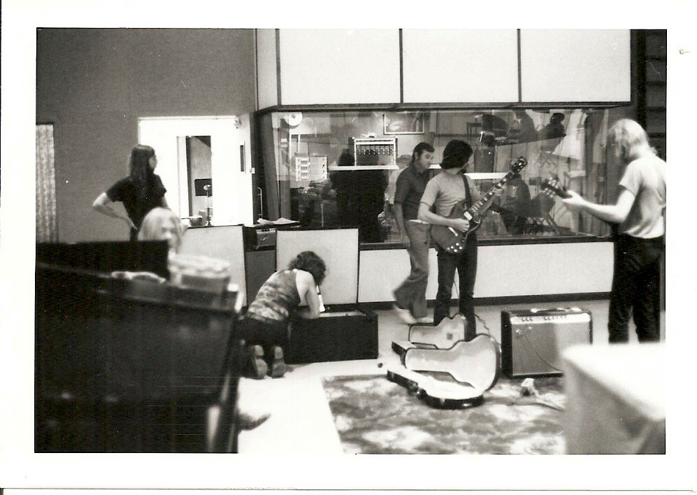 The Allman Brothers Band set-up during the 1970 recording sessions for Idlewild South at Criteria Recording Studios, Miami, Florida. Mack Emerman, founder and owner of Criteria, pictured center. Photo courtesy of the author.