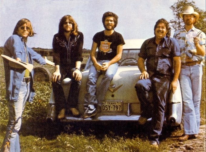 """The band that made """"Texas Rock For Country Rollers"""": Doug Sahm, Harry Hess, Jack Barber, Atwood Allen, and George Rains (l-r)"""