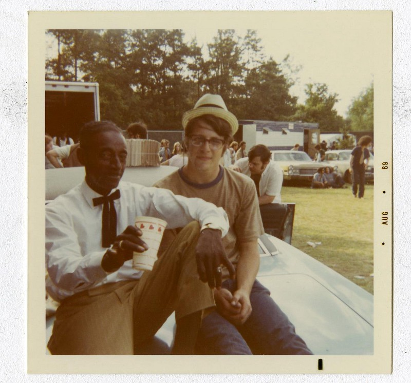 Mississippi Fred McDowell and me (age 18), Backstage, 1969 Ann Arbor Blues Festival