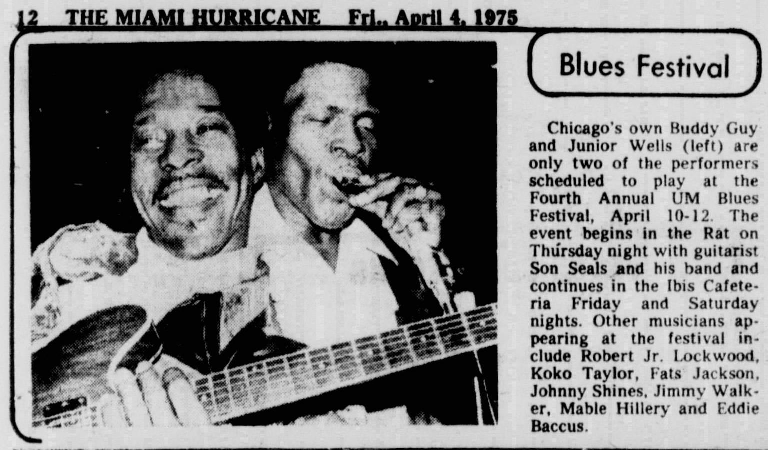 Miami Blues Festival preview from  The Miami Hurricane , April 4, 1975