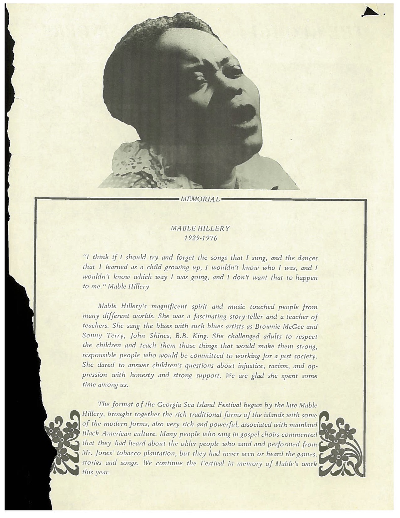 Mable Hillery memorial card, from Folder 61, in the Southern Folk Cultural Revival Project Collection 20004, Southern Folklife Collection, The Wilson Library, University of North Carolina at Chapel Hill