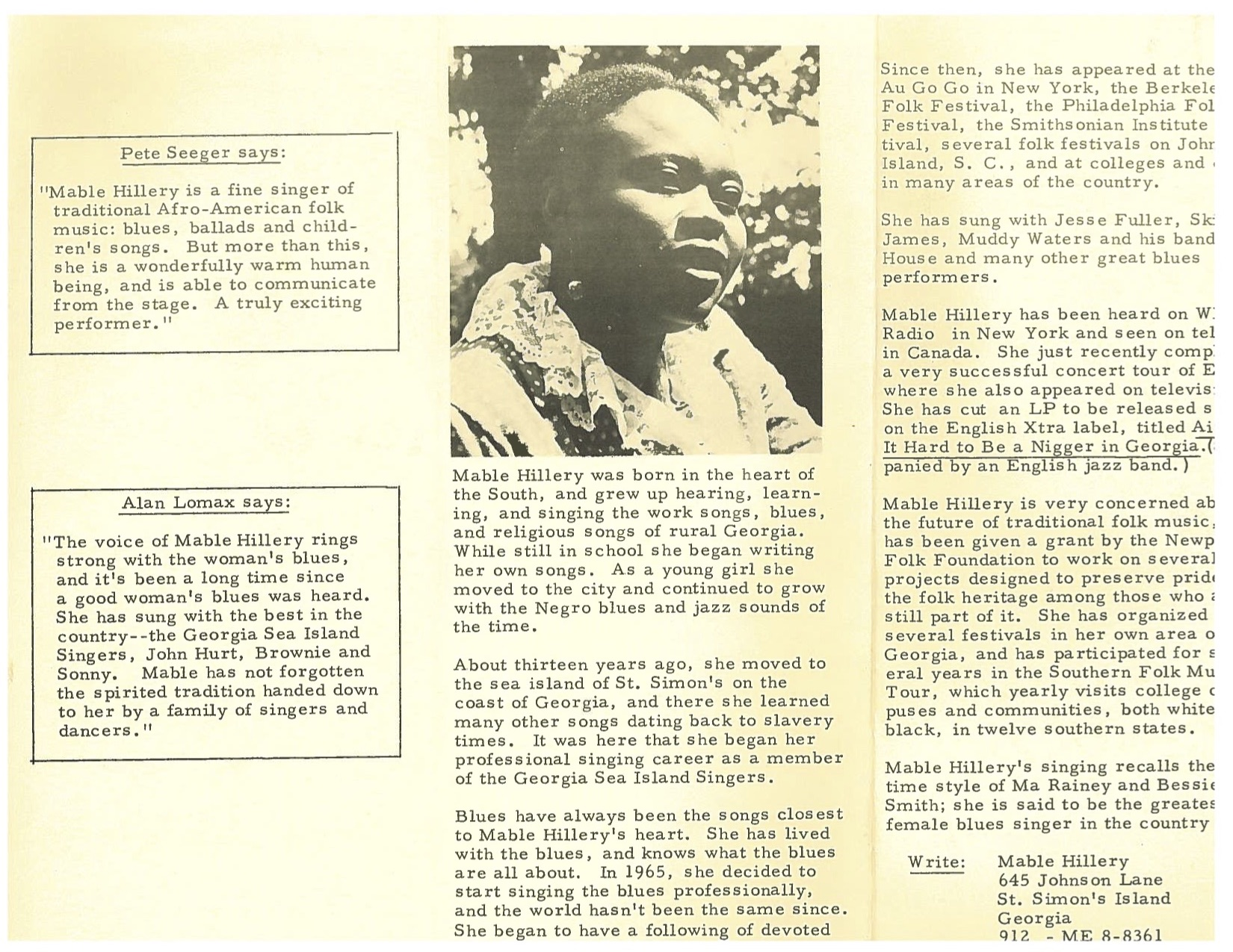 Interior of a Mable Hillery promotional pamphlet, circa late 1960s [courtesy of Bill Farrow]