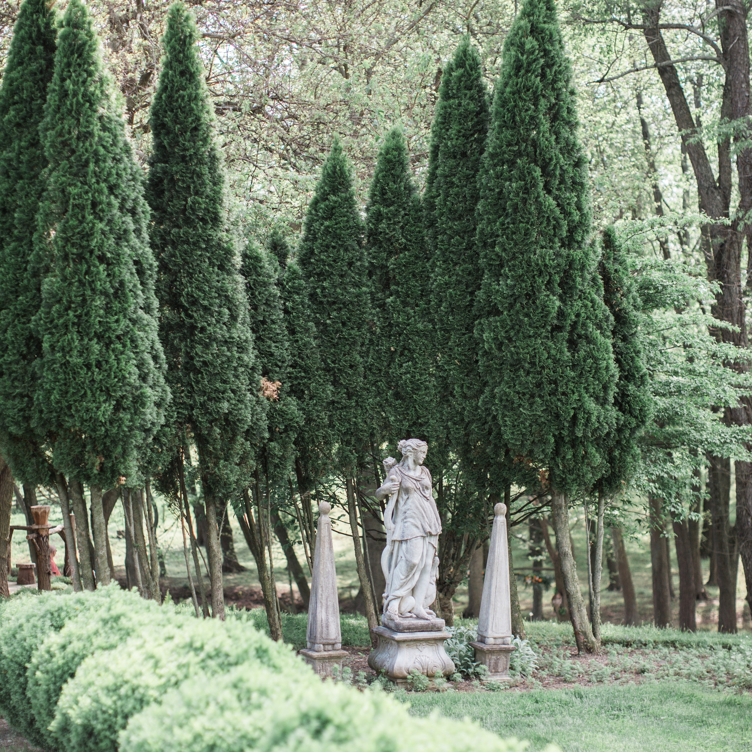The English Garden - Reminiscent of a scene from Pride & Prejudice, the English boxwood garden is the perfect place to hold a small ceremony. It can also be used for a small rehearsal dinner and has even been utilized as an outdoor reception and cocktail hour space. Of course, formal photos taken here are also delightful!Photo courtesy of Jalapeno Photography
