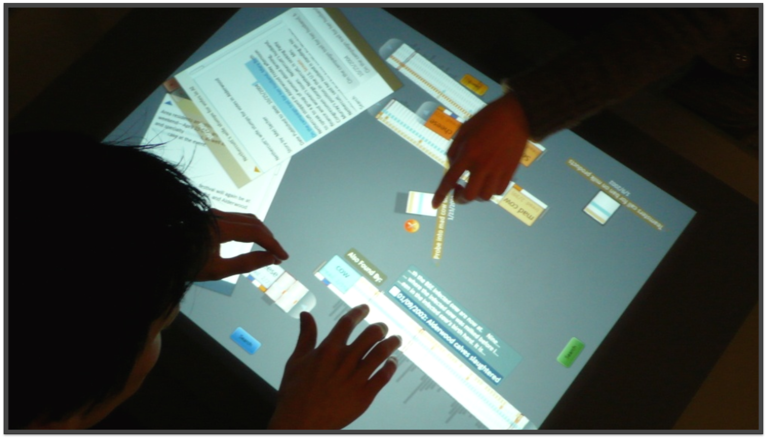 The Cambiera system in action: four hands on a tabletop
