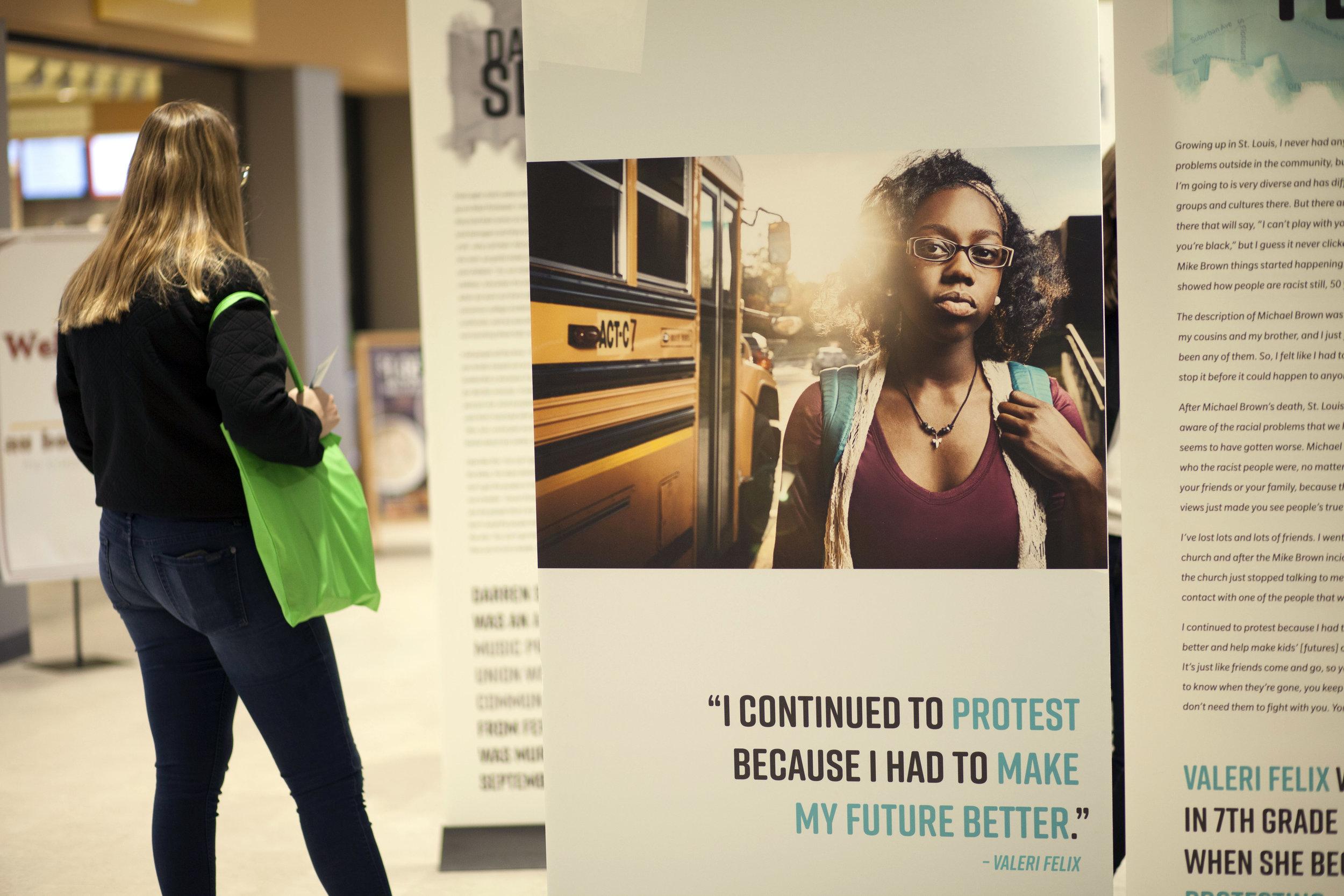 Valeri Felix's panels in  Ferguson Voices: Disrupting the Frame  at St Louis Public Library, 2018