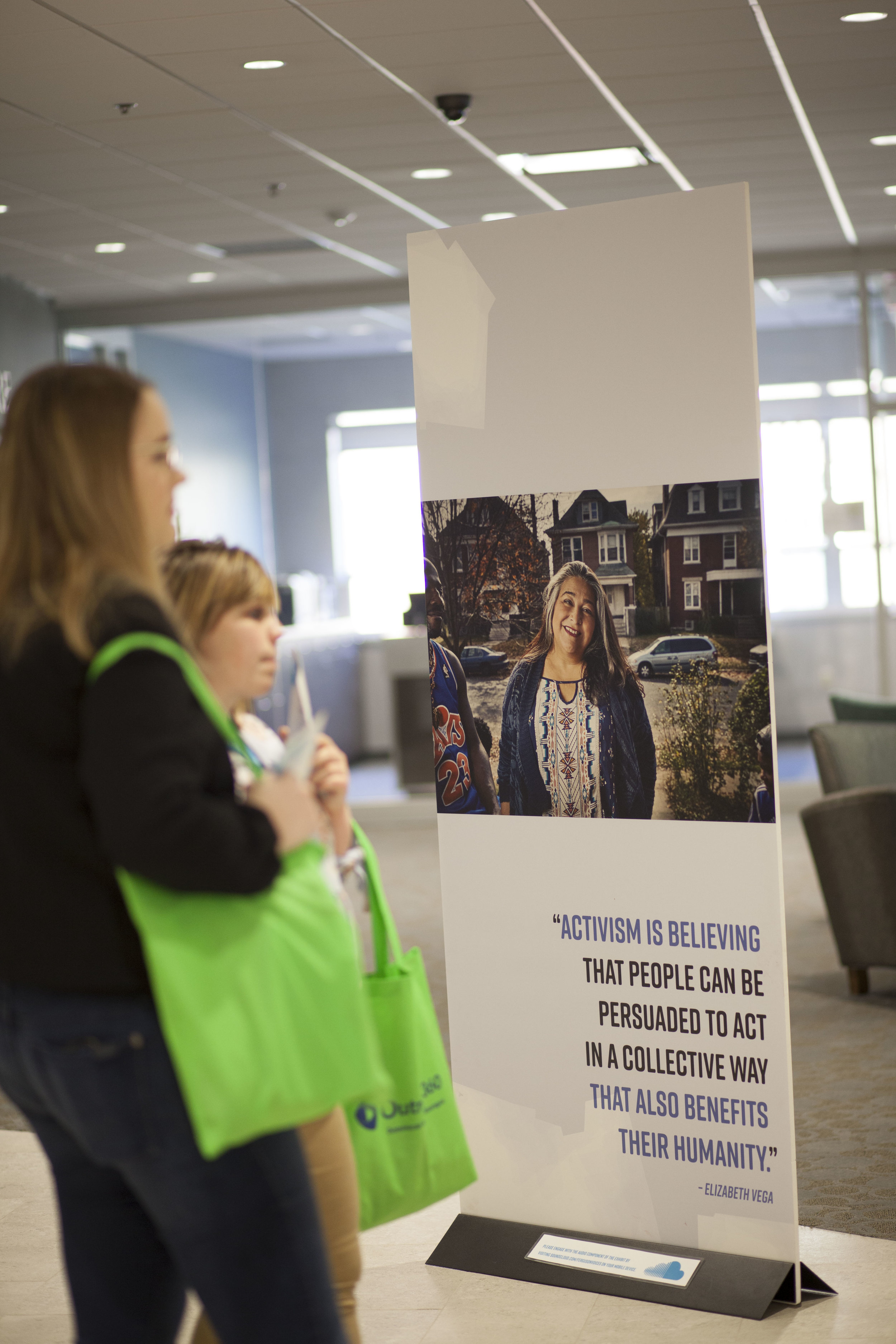 Elizabeth Vega's panels in  Ferguson Voices: Disrupting the Frame  at St Louis Public Library, 2018