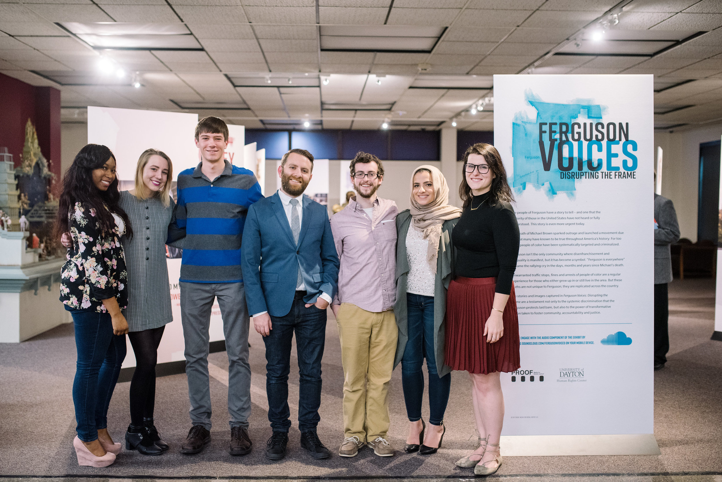 Joel Pruce (centre) with students from The Moral Courage Project at the University of Dayton's Human Rights Centre, at the launch of  Ferguson Voices: Disrupting the Frame  at The University of Dayton, January 2017