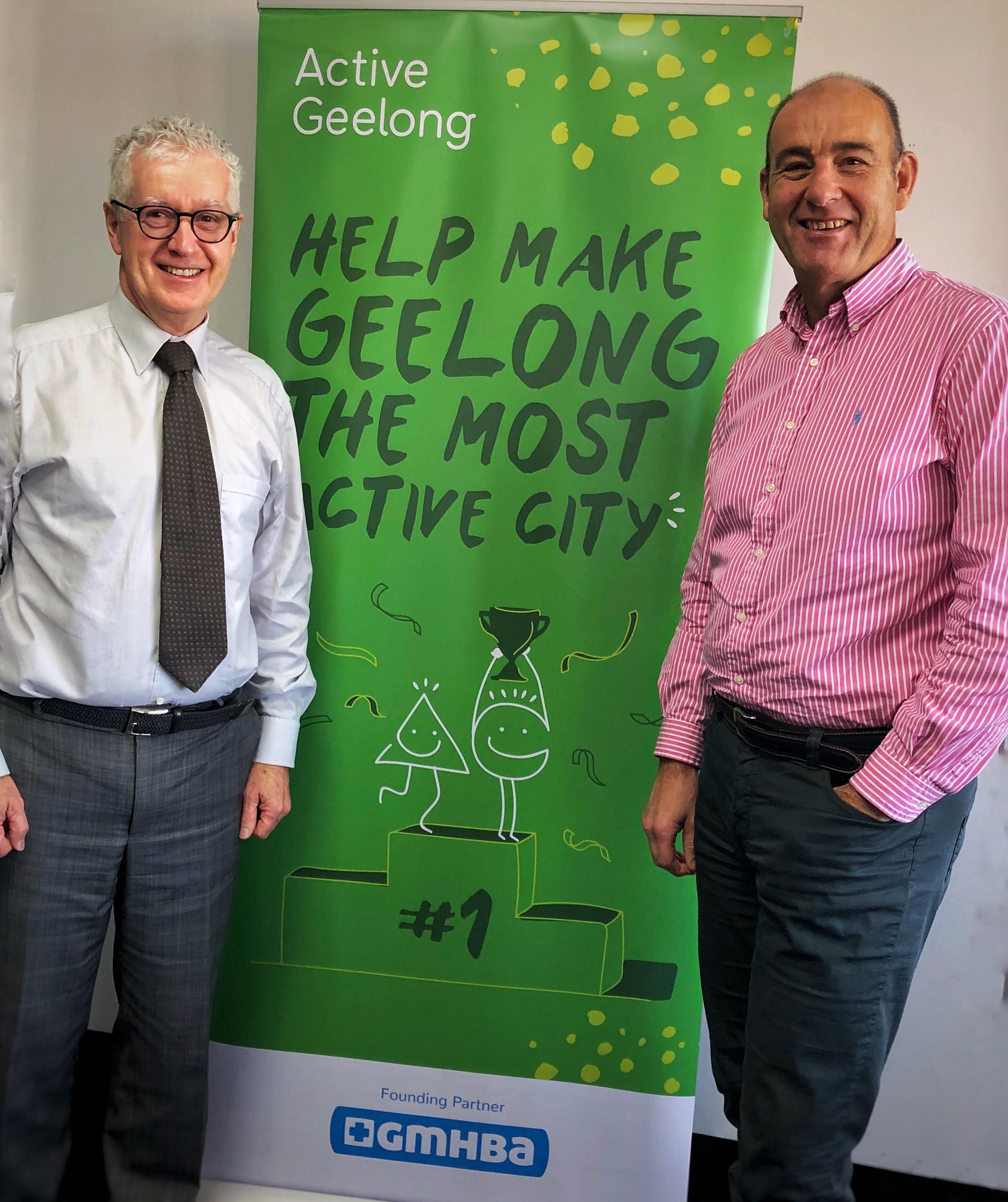 Active Geelong chair Dr Hugh Seward with GMHBA CEO Mark Valena