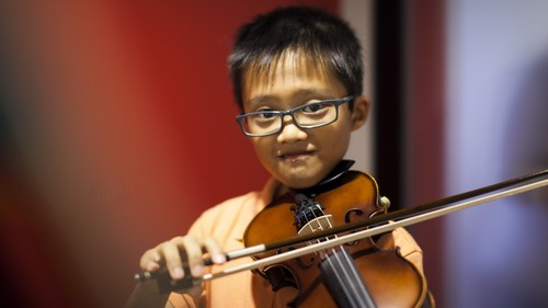 Violin - Violins are versatile and suitable for many genres of music. It also comes in many sizes with the smallest one suitable for a 3-year old kid.