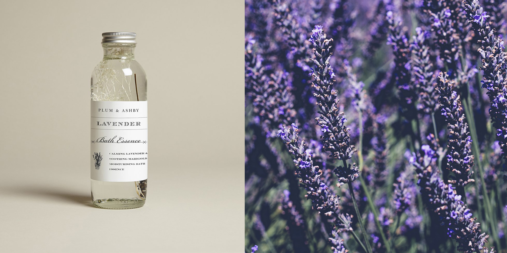 Lavender Bath Essence from Plum & Ashby. Available in The Spa Day gift box.