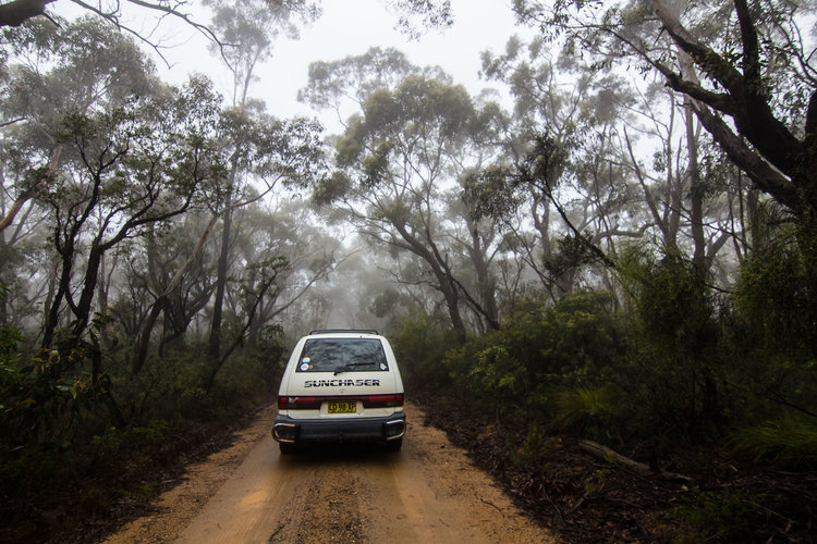 """A white van with the name """"Sunchaser"""" on the back drives down a dirt road through a foggy forest."""