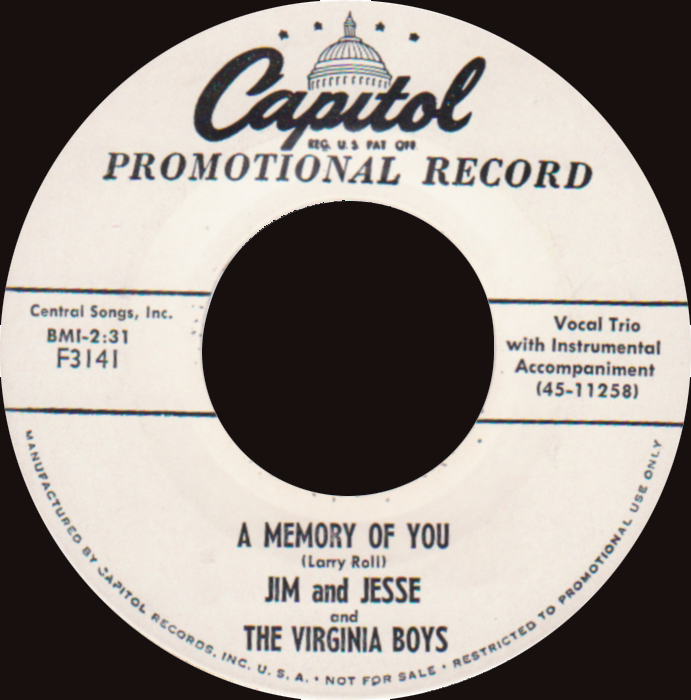 "7"" label of 'A Memory of You' by  Jim & Jesse"