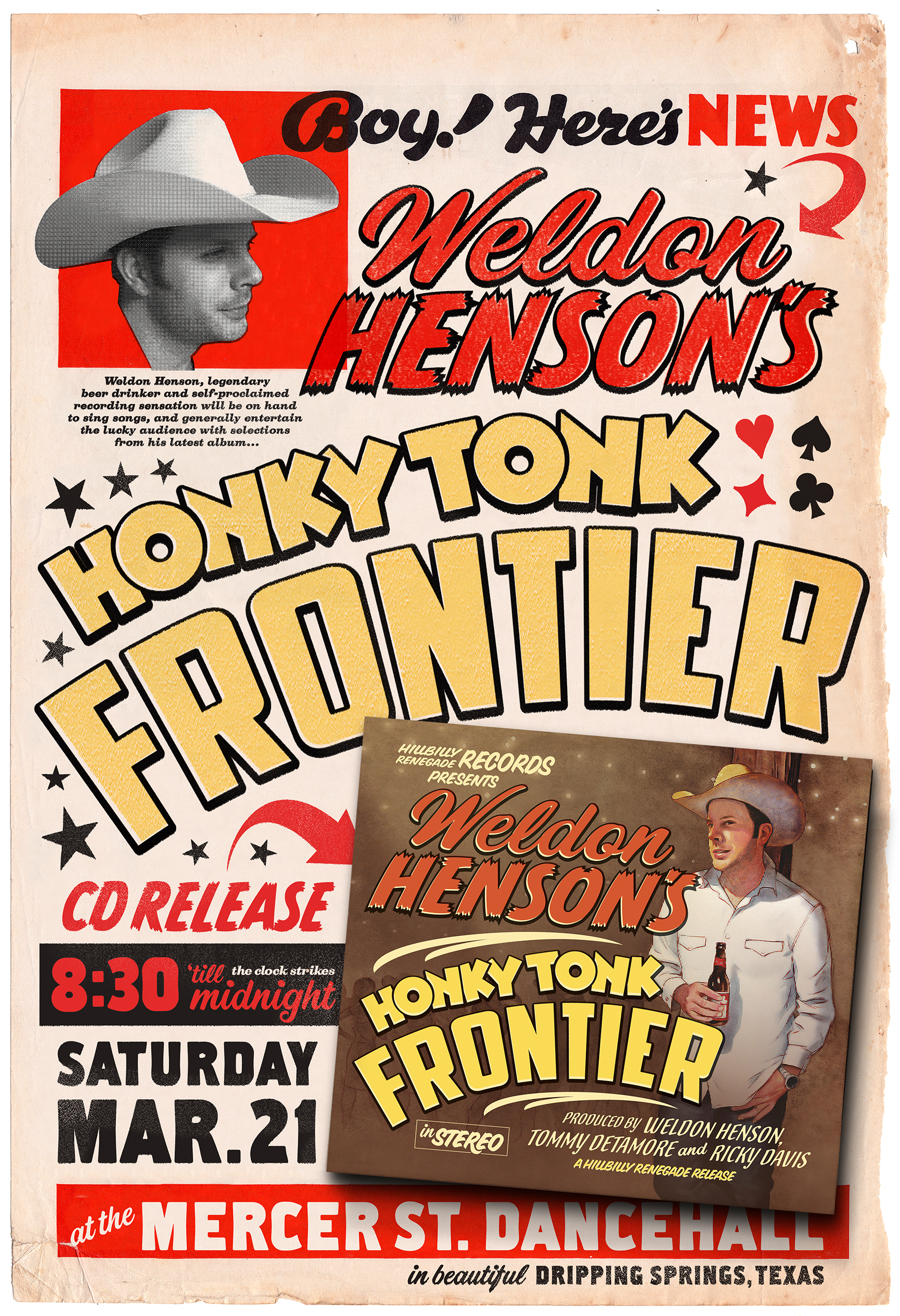 Poster for Weldon's Honky Tonk Frontier album launch party, Mercer's Dancehall, Dripping Springs, 2015