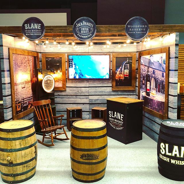 Another build we did last week at the @whiskeylivedub show. This was was thanks to our good friends @havasdublin. We enjoyed spending time on getting the details exact and adhering to the overall concept closely. Three leaders in the whiskey world @slanewhiskey @woodfordreserve & @jackdaniels_ie shared this great stand which was a huge hit over the weekend.  If you are interested in a build like this, or have something in mind. Contact info@flyingelephant.ie . .. . . . #whiskey #whiskeydrinker #tumbler #whiskeyporn #dublincastle #wiskeybarrels #lgtv #render #dublin #ireland #eventdesign #design #create #makersgonnamake #install #eventprofsireland #custombuilt #production #customdesign  #madenotbought #fabrication  #creativeagency