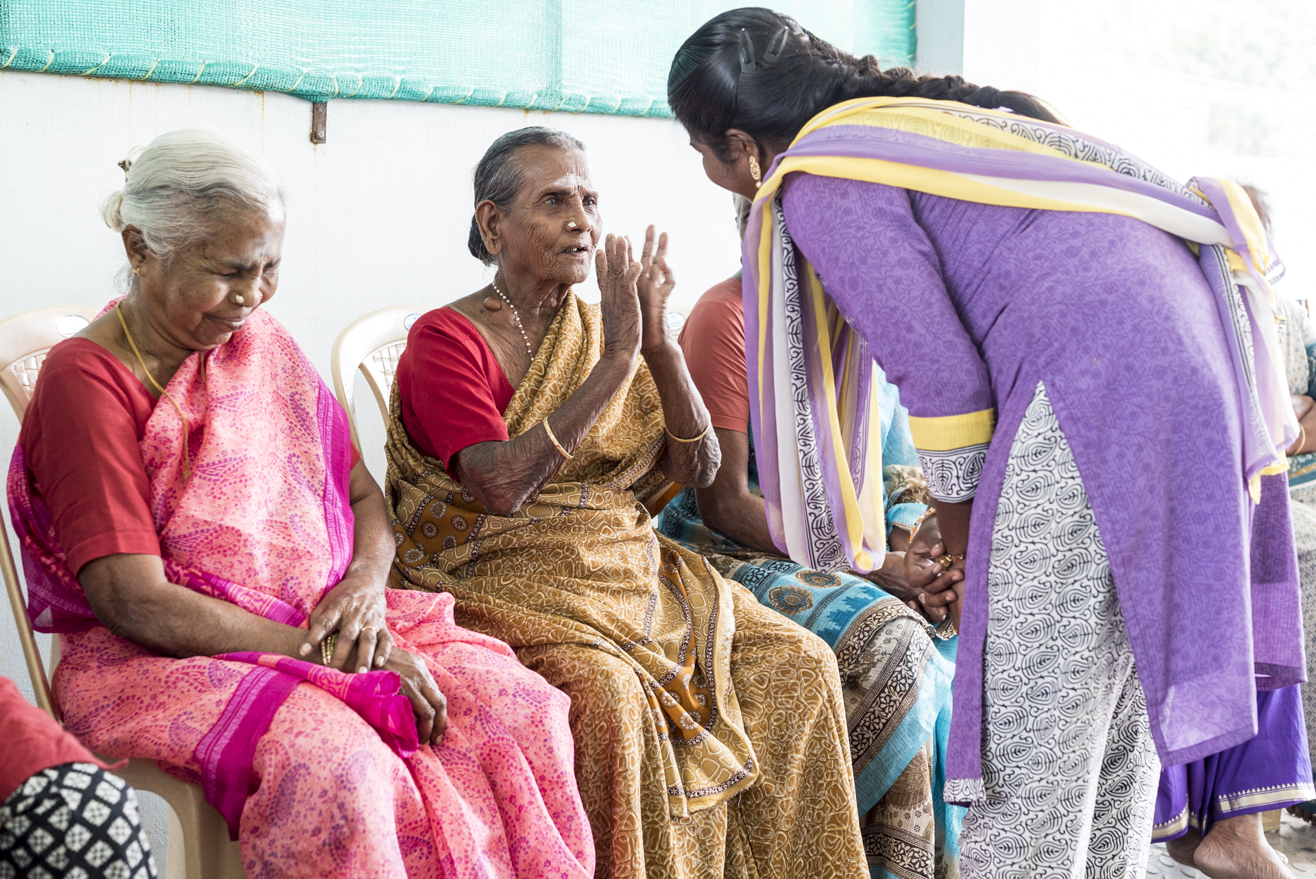 """Women living in """"the house without fear,"""" Coimbatore, Tamil Nadu, Credit: Benjamin Fueglister"""