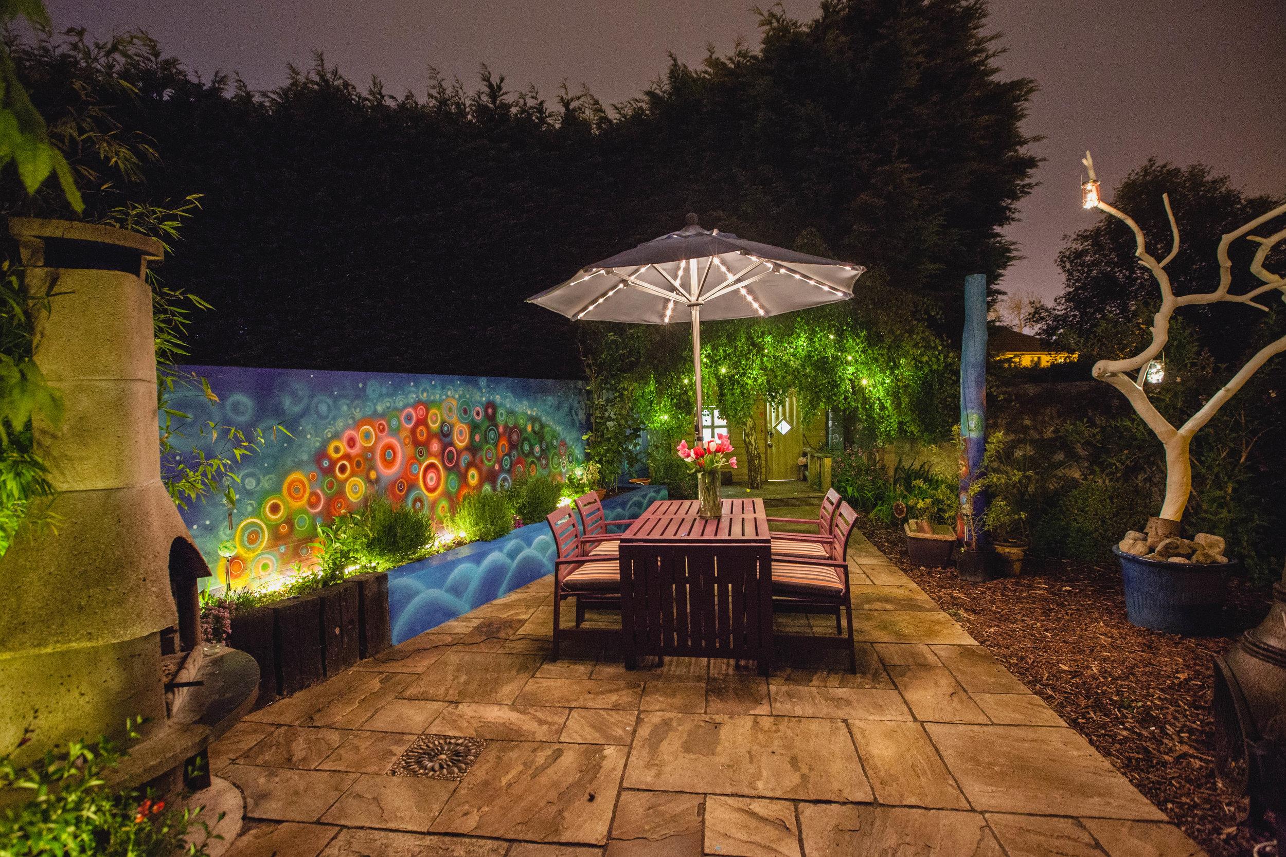 night garden mural