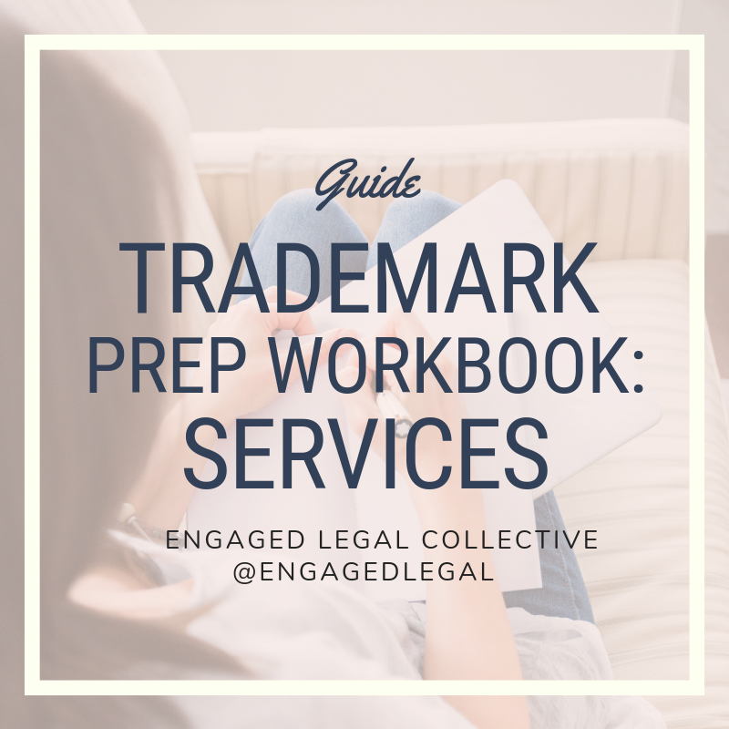 We offer these trademark-prep workbooks in our shop to help you understand and gather what it is you need to file your trademark. Remember: Service-based businesses and Product-based businesses require different info, so make sure you're grabbing the right guide!