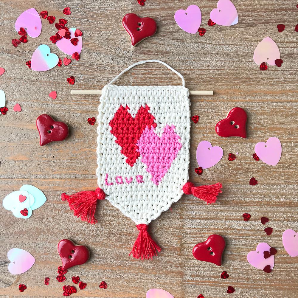Love Heart Banner Free Crochet Pattern The Almond Snug
