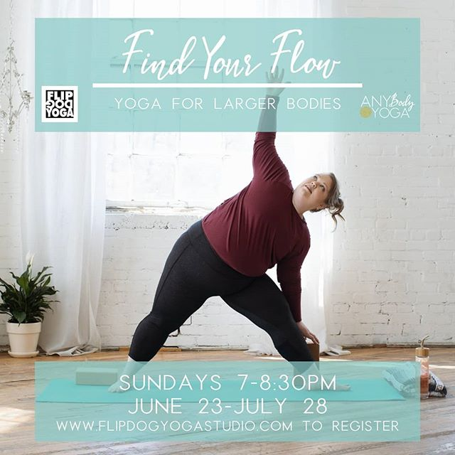 The next round of Find Your Flow: Yoga for Larger Bodies @grflipdog starts this Sunday and there are only a few spots still open! Link in bio to register.  This class was designed for all of you who have been interested in a yoga practice but have been reluctant to start because of fears of being the largest person in the room, or being shamed for the size of your body, or struggling with beliefs that maybe your body can't do yoga. Your body is welcome in this class just as it is and together we'll find ways to make yoga work for your unique body.  This will be my third time offering this series and each time it's felt like a powerful experience.  I am continually inspired by the participants who show up authentically, support one another, and are committed to showing more love towards their bodies.  #yogaforlargerbodies #grandrapidsyoga #gryoga #grhealthyliving #findyourflow #yogaforallshapesandsizes #yogaforall #bodypositiveyoga #bodypositive #grandrapidsmi #westmichigan