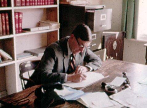 David Senogles in his Menai Bridge office, 1980s.