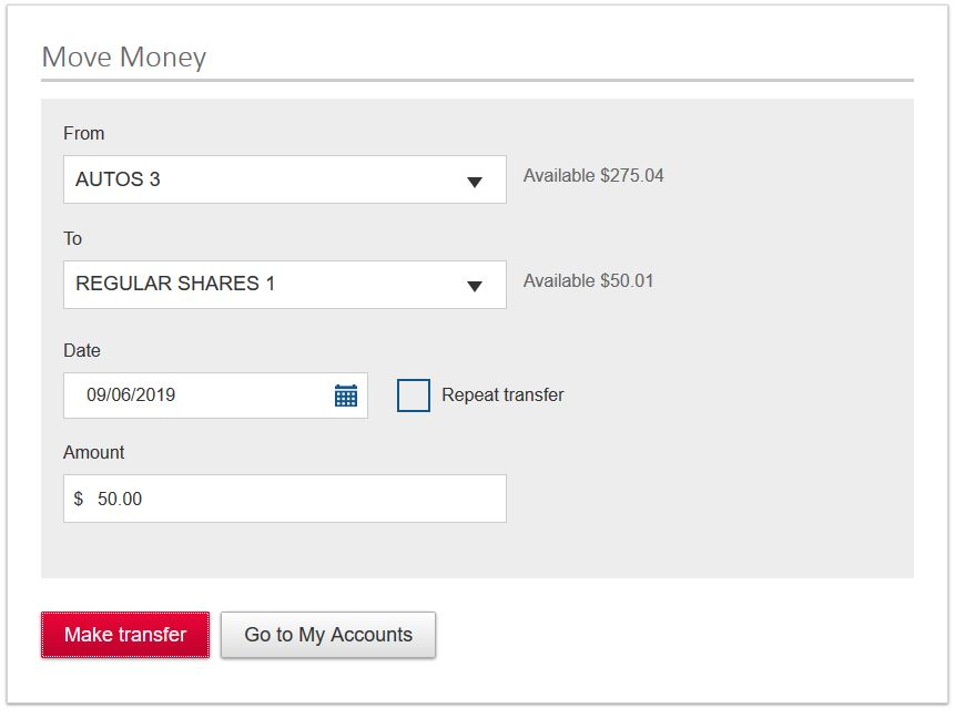 Transfer funds quickly and easily between multiple accounts within a single sign-on.