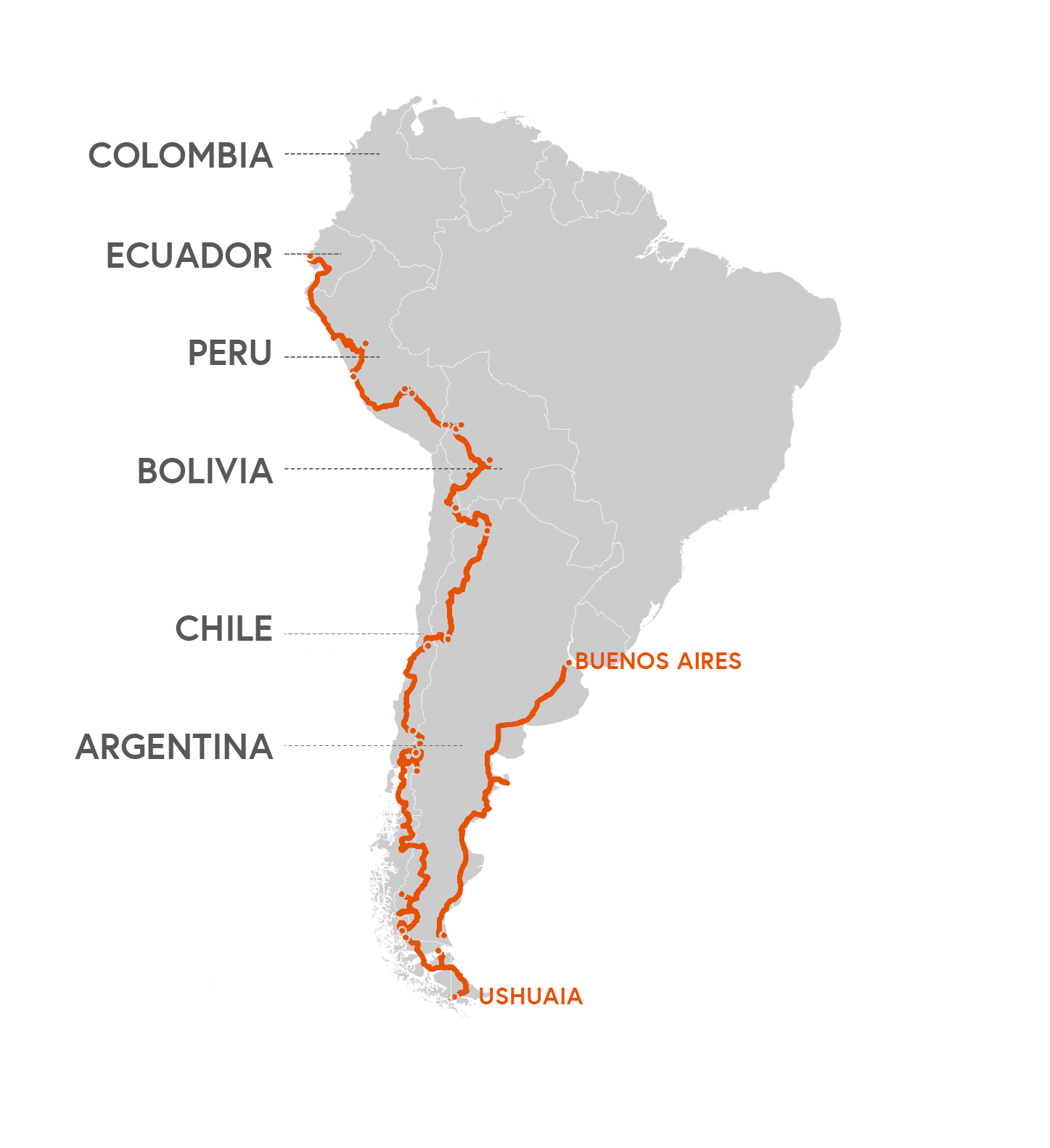 This is the current route from Buenos Aires south into Patagonia and up (Status: April 2018)