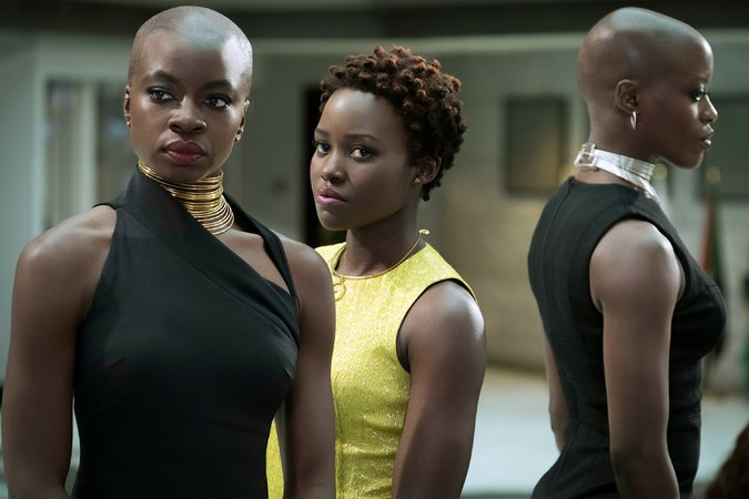 Left-right: Okoye (Danai Gurira), Nakia (Lupita Nyong'o), Ayo (Florence Kasumba)  Matt Kennedy/Marvel and Disney