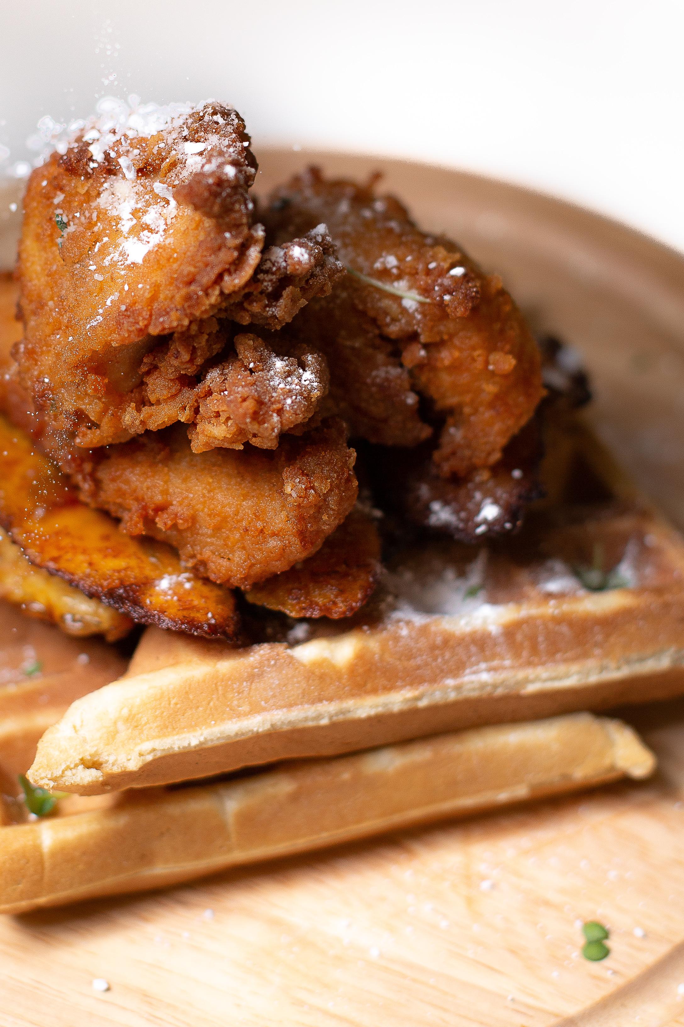 Suya Chicken and Waffles