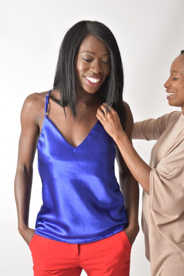 Kristianah Fasunloye modelling camisole Persian Blue // Donna Benjamin Photography