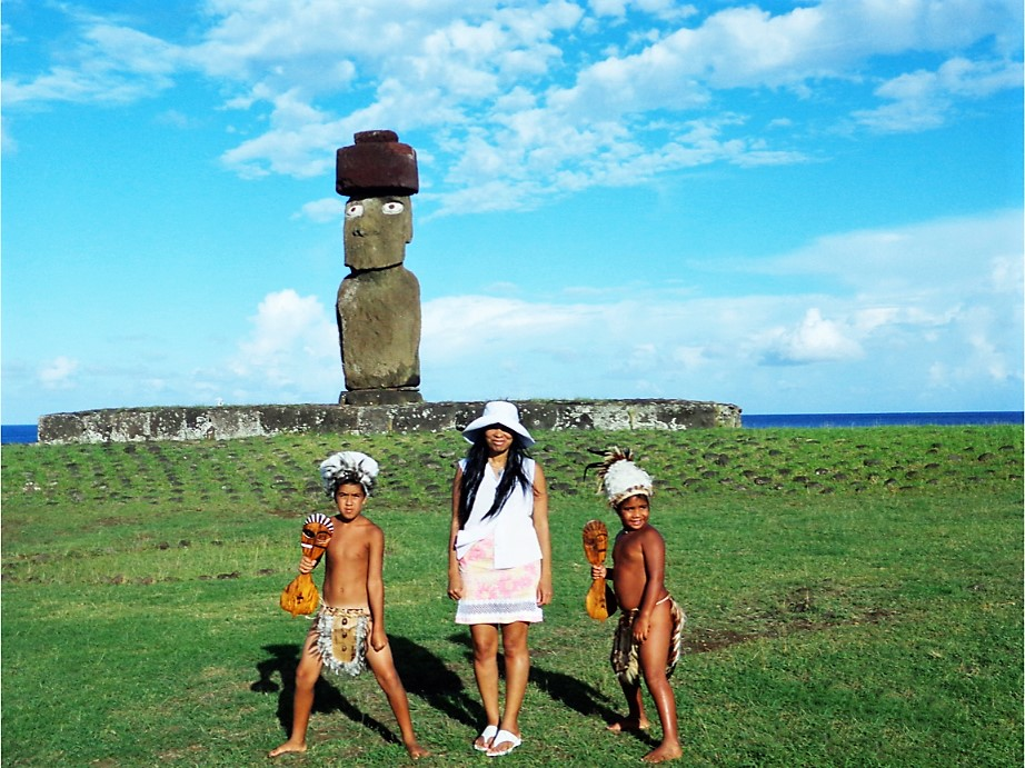 Spotts in Easter Island, Polynesia with natives // Image provided by Spotts