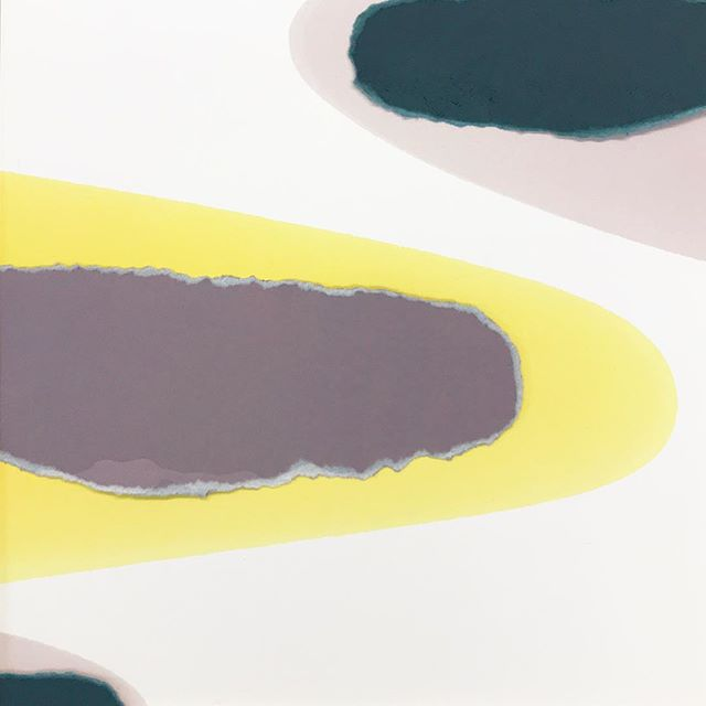 """Watermark with collage. 13"""" x 13"""" #teal #lavender #yellow"""