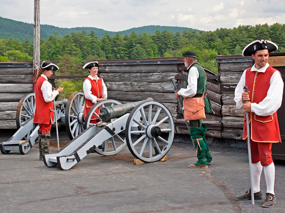 Cannon firings will take place throughout the day at Fort William Henry, a living history museum.