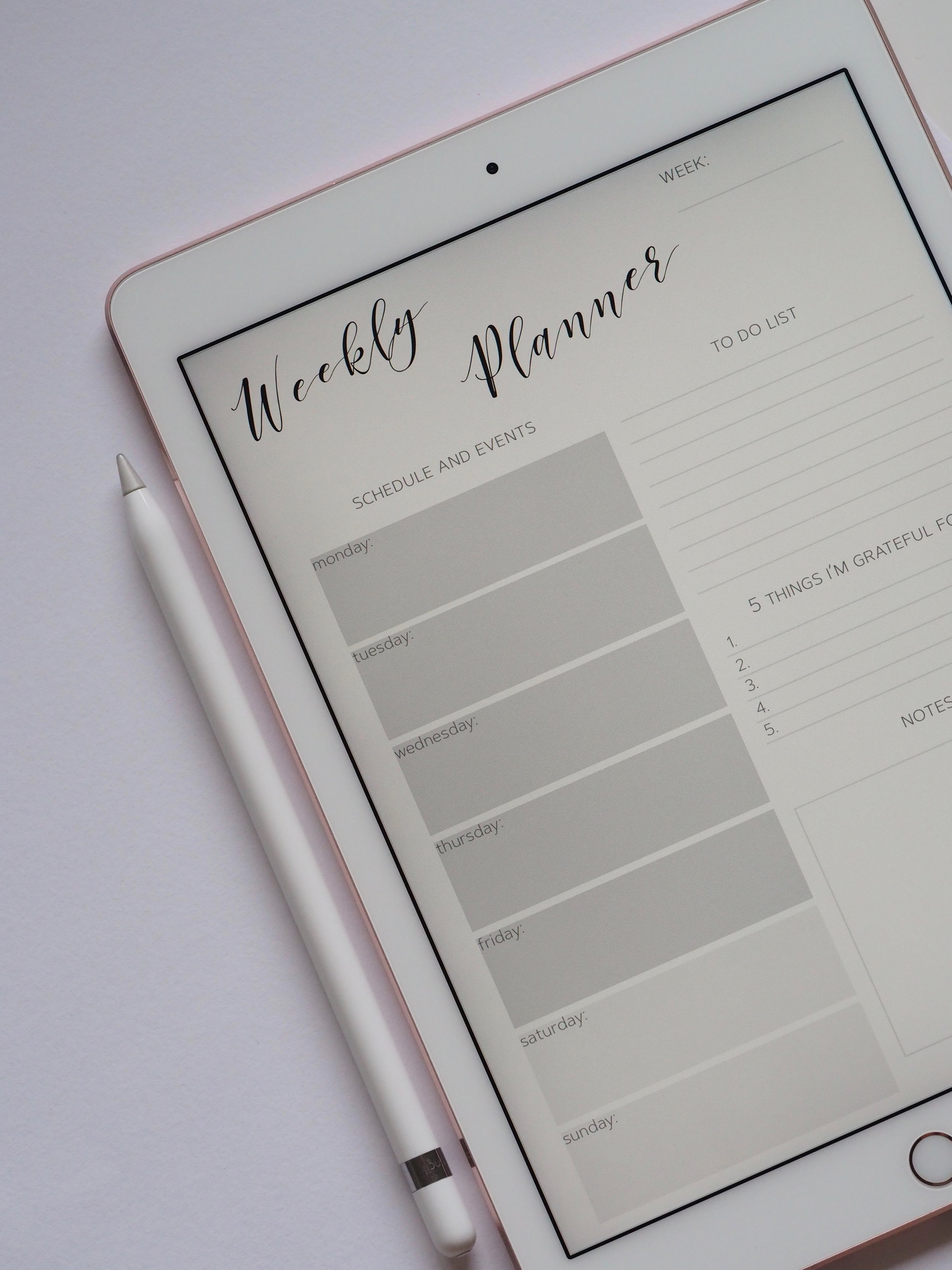 Weekly planner and goals list