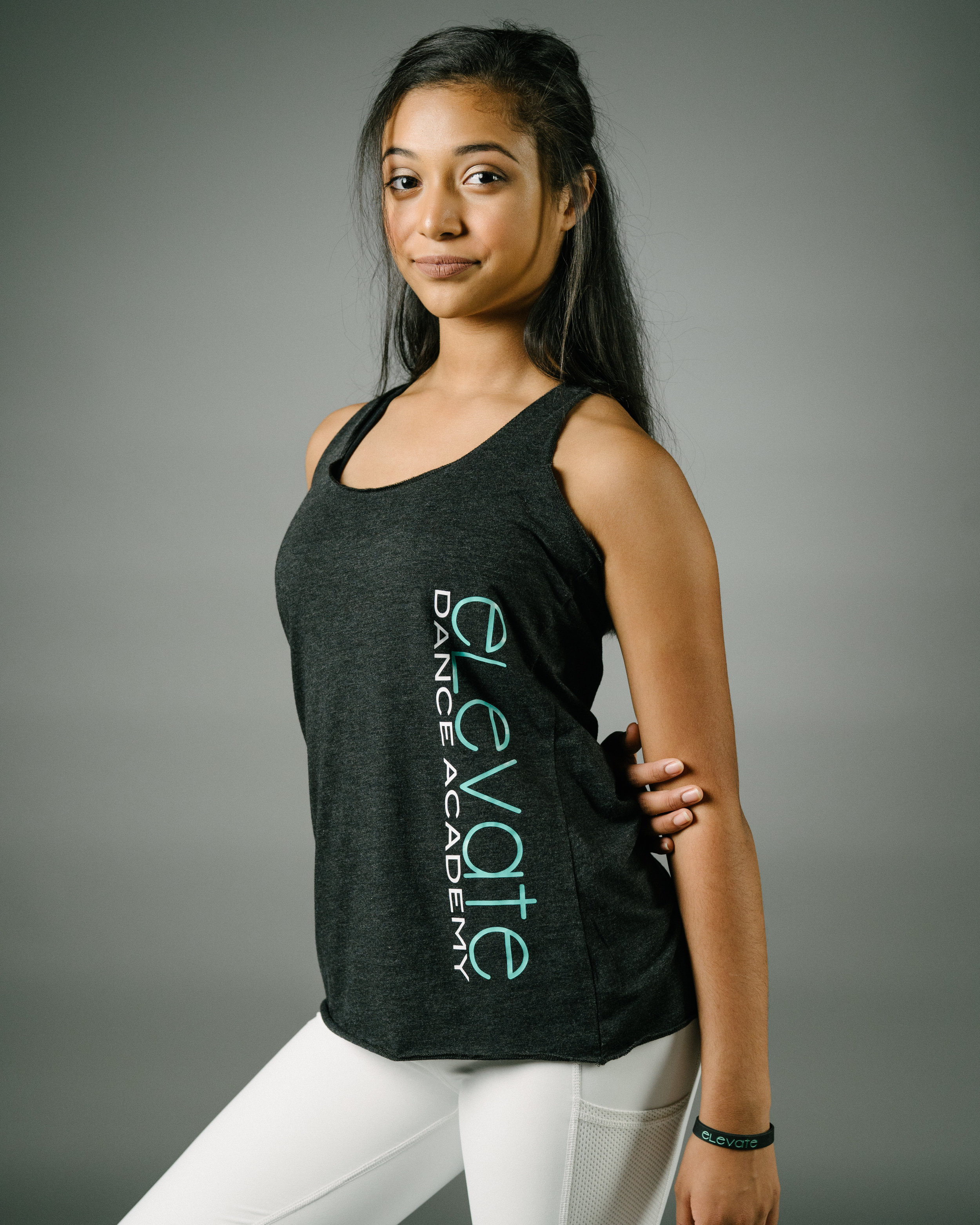 Charcoal Black Racerback Tank (Elevate logo down the left side)