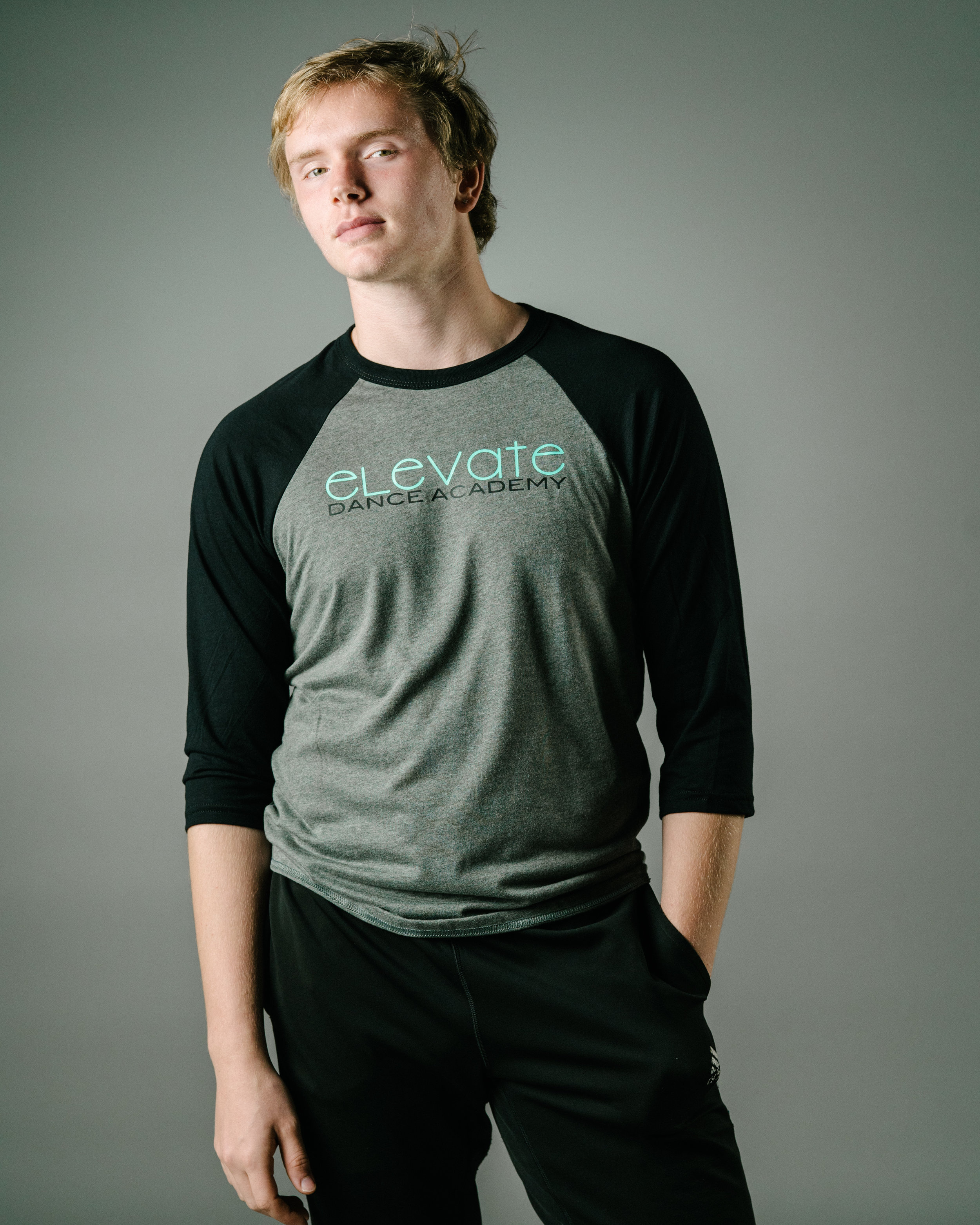 Grey/Black Baseball T-Shirt (Elevate logo)