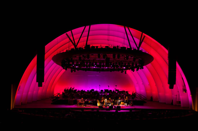 Hollywood Bowl - In 2005, the Hollywood Bowl unveiled its illumination makeover, including the installation of a Philips Color Kinetics LED lighting solution.