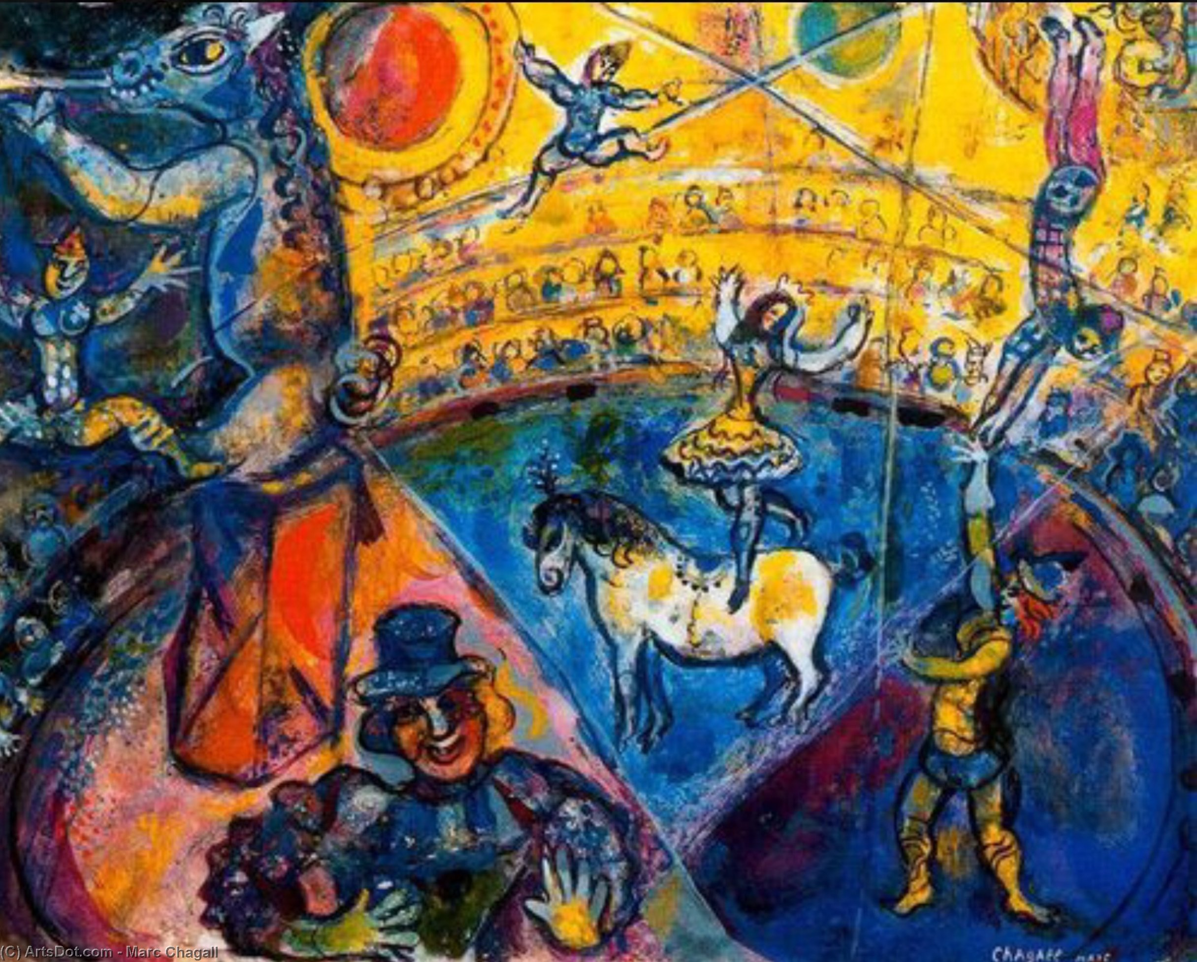 [Image:  Dimensioni di questa immagine , by  Marc Chagall (1887-1985), 1950. Courtesy of wikioo.org, the Internet Collection of Fine Art, http://wikioo.org/it/paintings.php?refarticle=8XYH5P&titlepainting=The%20circus&artistname=Marc%20Chagall ]