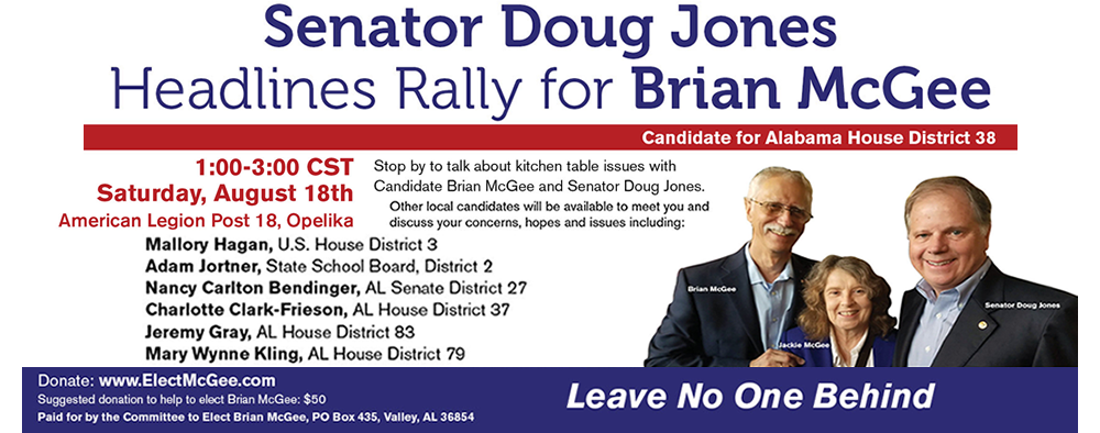 Facebook Ad for Senator Doug Jones Rally for Brian McGee
