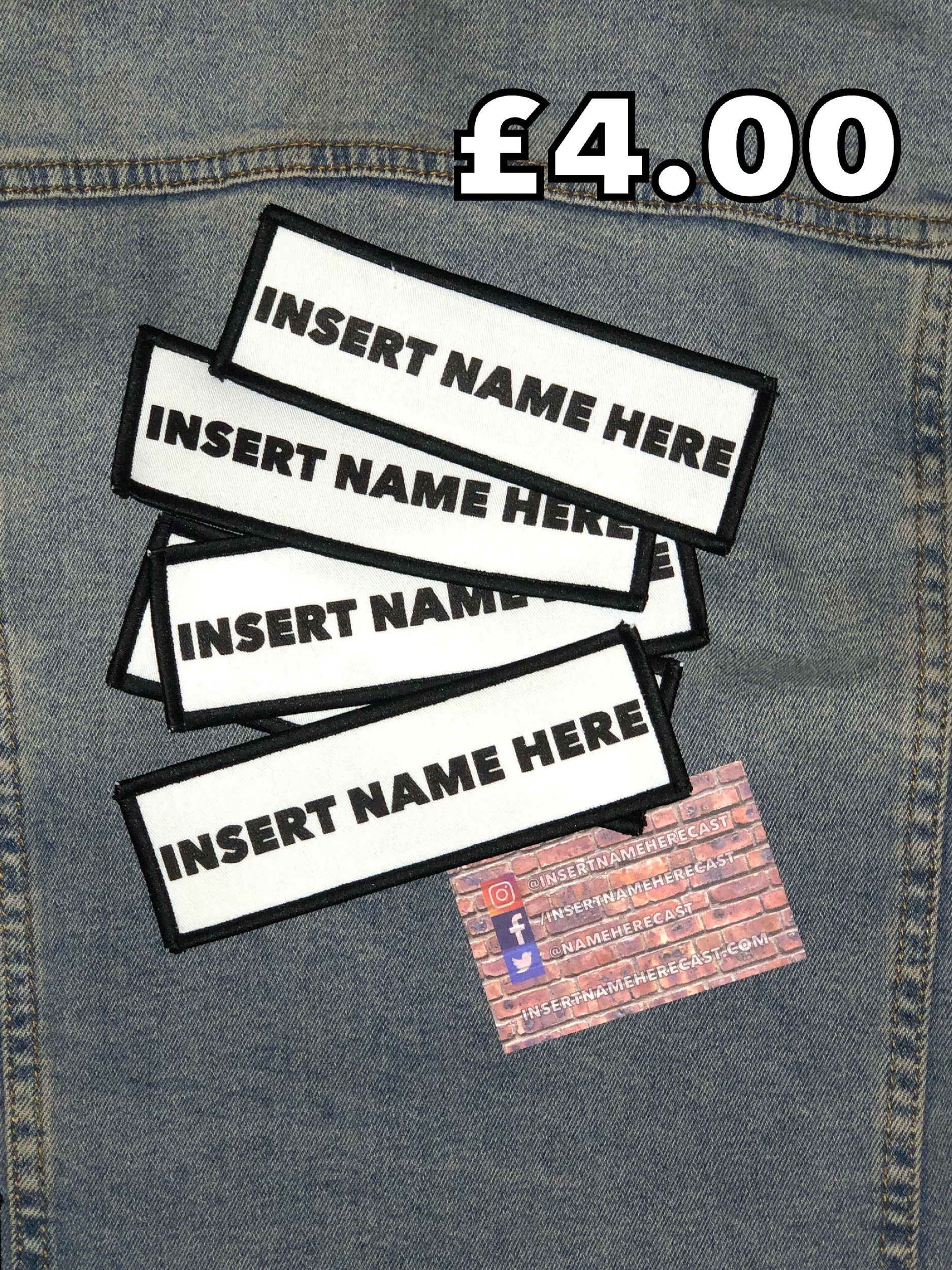 """Insert Name Here"" sew-on patch - £4.00  Size: 15cm x 5cm."